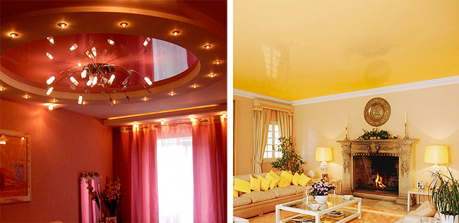 Цветные натяжные потолки в интерьере